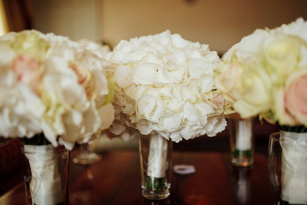 white hydrangea bouquets wedding fermanagh