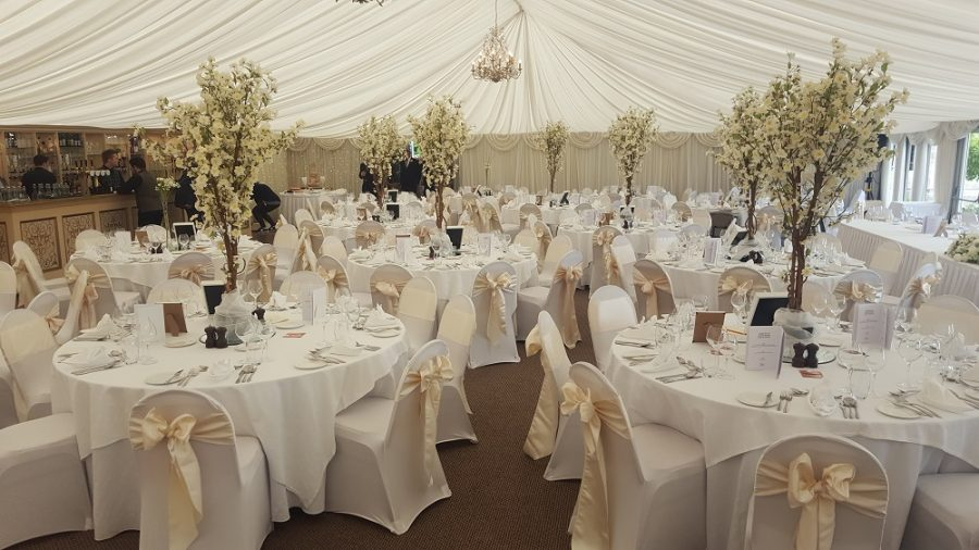 cherry blossom tables centres at Castle Leslie County Monoghan wedding venue