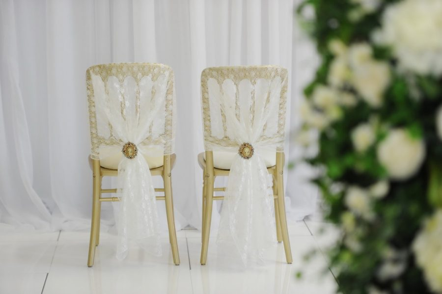 Gold lace bride and groom wedding chair ideas, wedding chairs, cermony ideas, Northern Ireland, Fermanagh Wedding