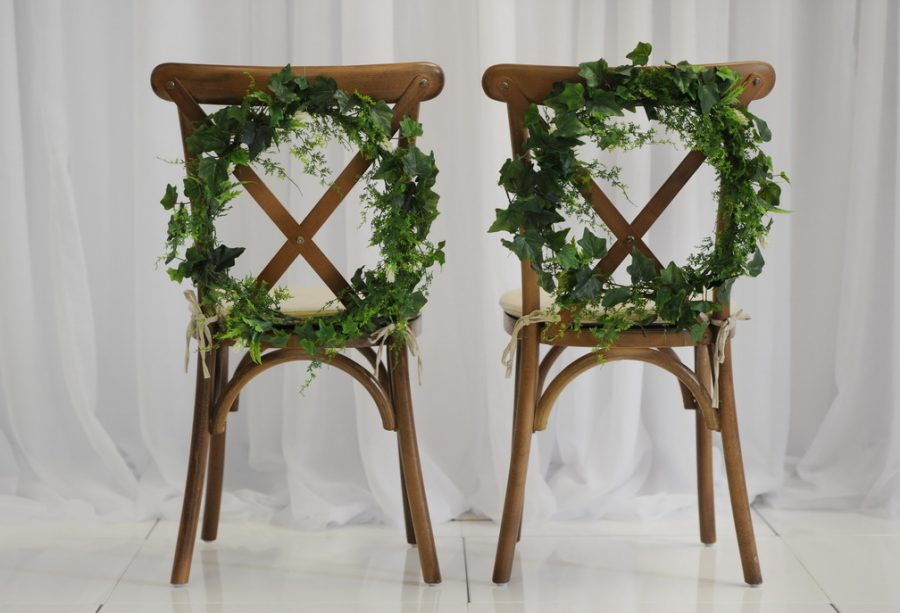 Bride and Groom Chairs brown and green