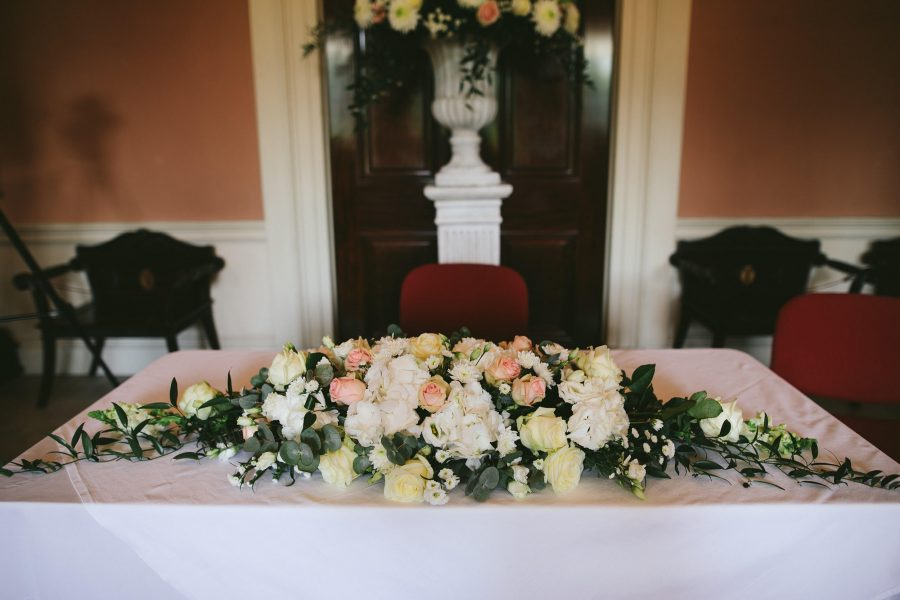 Floral decor for registrar table Wedding at N.ireland fermanagh by McGarry Flowers castle coole