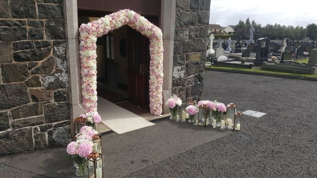 blush pink wedding arch flowers decoration n.ireland wedding