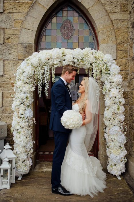 cherry blossom arch floral belcoo chapel fermanagh wedding