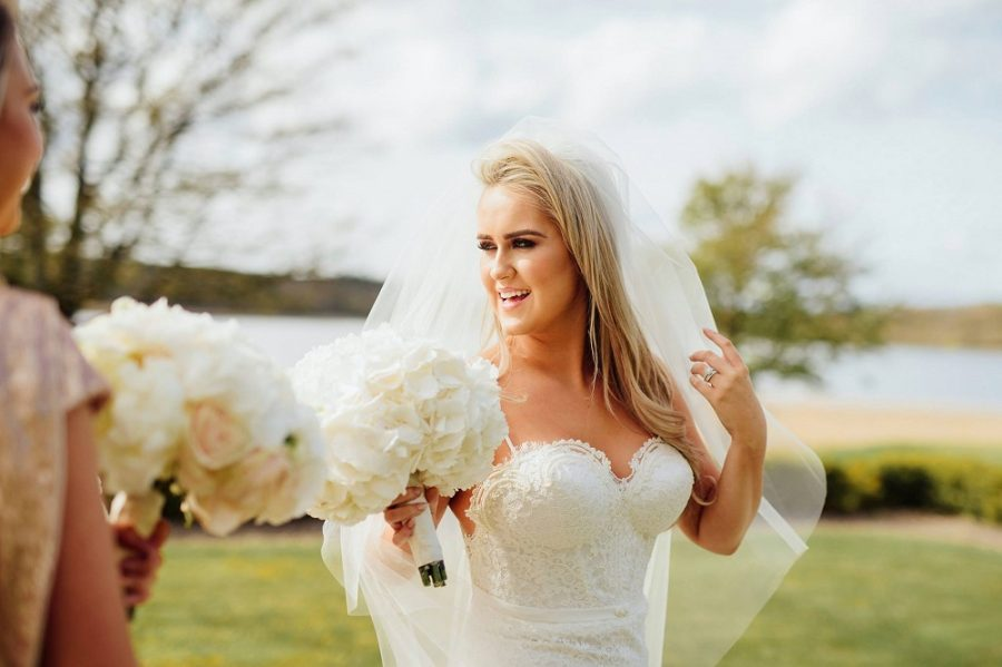 julie oshea wedding lough erne resort lace dress hydrangea bouquet