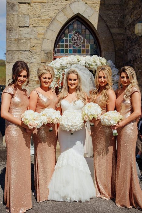 rose gold sequin bridesmaids dresses wedding belcoo chapel fermanagh