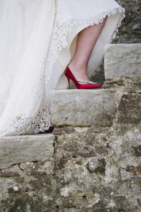 louis viton shoe red shoes anle wedding dress detail