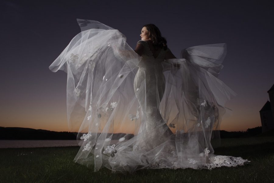 wedding dress photo at dusk lough erne