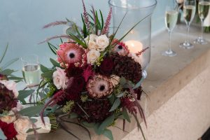 lough erne resort draw bridge bridesmaids bouquet wedding fermamagh christmas flower ideas burgandy peach