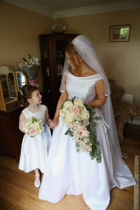 Bridal bouquet pink and white cascading bouquet blue bridesmaids enniskillen northern wedding