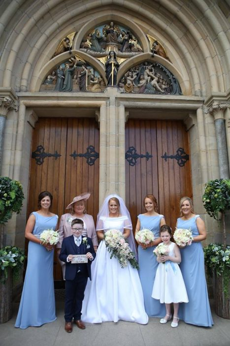 blue bridesmaids wedding dresses st.michaels bridal buquets